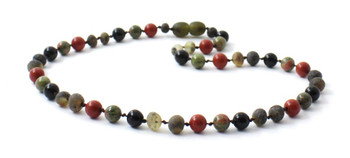 Necklace, Red Jasper, Unakite, Amber, Obsidian, Green, Amber, Baltic, Raw, Gemstone