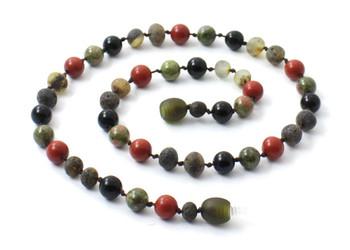 Necklace, Red Jasper, Unakite, Amber, Obsidian, Green, Amber, Baltic, Raw, Gemstone 2