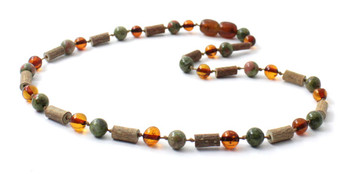 Necklace, Unakite, Amber, Cognac, Hazelwood, Natural, Jewelry, Baltic, Green