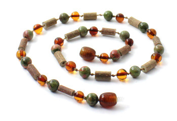 Necklace, Unakite, Amber, Cognac, Hazelwood, Natural, Jewelry, Baltic, Green 2