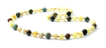 Necklace, African Turquoise, Amber, Milky, Butter, Unakite, Jewelry, Raw, Unpolished, Natural