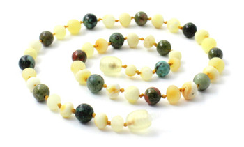 Necklace, African Turquoise, Amber, Milky, Butter, Unakite, Jewelry, Raw, Unpolished, Natural 2