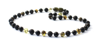 Necklace, Jewelry, Obsidian, Lava, Amber, Black, Green, Polished, Baltic, Beaded