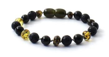 Bracelet, Green, Obsidian, Amber, Baltic, Black, Lava, Jewelry, Anklet, Polished