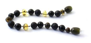 Bracelet, Green, Obsidian, Amber, Baltic, Black, Lava, Jewelry, Anklet, Polished 2