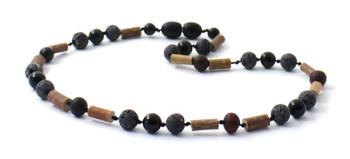 Necklace, Black Lava, Amber, Hazelwood, Obsidian, Baltic, Cherry, Raw, Unpolished, Jewelry