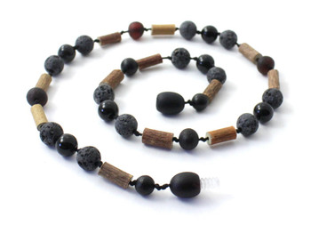 Necklace, Black Lava, Amber, Hazelwood, Obsidian, Baltic, Cherry, Raw, Unpolished, Jewelry 2