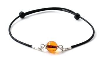 Adjustable, Bracelet, Black, Minimalist, Knotted, Amber, Bead, Jewelry, Small 2
