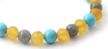 Bracelet, Amber, Adult, Turquoise, Stretch, Gemstone, Raw, Honey, Unpolished, Golden 2