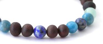 Cherry, Bracelet, Baltic, Jewelry, Amber, Stretch, Black, Unpolished, Apatite, Lapis Lazuli, Aventurine 2