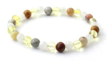 Lemon, Amber, Bracelet, Moonstone, Crazy Agate, Stretch, Jewelry, Jewellery, Polished