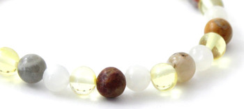Lemon, Amber, Bracelet, Moonstone, Crazy Agate, Stretch, Jewelry, Jewellery, Polished 2
