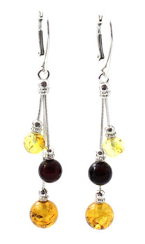 Earrings, Mix, Amber, Baltic, Multicolor, Drop, Dangle, Jewellery, Jewelry, Ball, Long, Sterling Silver 925