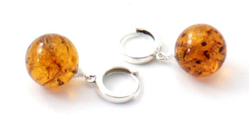 Drop, Dangle, Amber, Baltic, Sterling Silver 925, Jewelry, Jewellery, Earrings, Cognac, Ball, Round 2