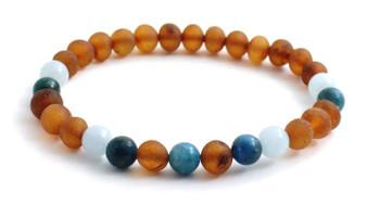 Jewelry, Bracelet, Blue, Apatite, Amber, Cognac, Aquamarine, Stretch, Adult, Jewellery