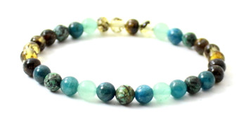 Bracelet, Jewelry, Aventurine, Amber, Green, African Turquoise, Apatite, Blue, Bracelet, Stretch