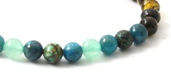 Bracelet, Jewelry, Aventurine, Amber, Green, African Turquoise, Apatite, Blue, Bracelet, Stretch 2