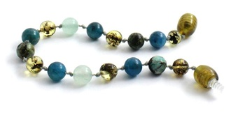 Bracelet, Knotted, Anklet, Amber, Baltic, Aventurine, Green, Apatite, African Turquoise, Beaded 2