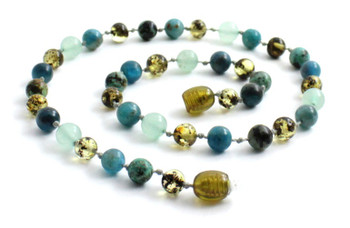 Green, Necklace, Amber, Baltic, Aventurine, Gemstone, Apatite, African Turquoise, Beaded, Jewelry 2