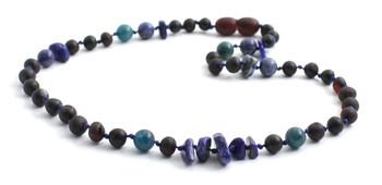 Necklace, Amber, Cherry, Chips, Baltic, Black, Apatite, Blue, Kids, Jewelry, Lapis Lazuli