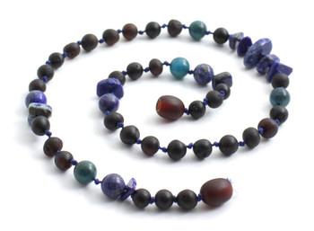Necklace, Amber, Cherry, Chips, Baltic, Black, Apatite, Blue, Kids, Jewelry, Lapis Lazuli 2