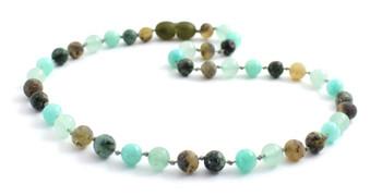 Gemstone, Green, Necklace, Amber, Baltic, Aventurine, African Turquoise, Bead, Beaded, Amazonite