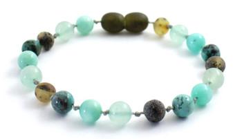 Bracelet, Gemstone, Beaded, Amber, Green, Raw, Aventurine, Unpolished, African Turquoise, Amazonite