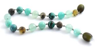 Bracelet, Gemstone, Beaded, Amber, Green, Raw, Aventurine, Unpolished, African Turquoise, Amazonite 2