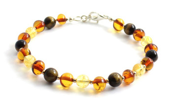 Bracelet, Amber, Sterling Silver 925, Citrine, Gemstone, Tiger Eye, Beaded, Women, Jewelry
