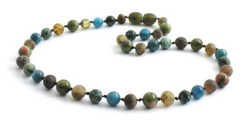 Necklace, Amber, Green, Gemstone, Apatite, Blue, African Turquoise, Unakite, Beaded