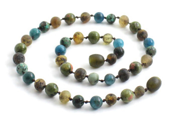 Necklace, Amber, Green, Gemstone, Apatite, Blue, African Turquoise, Unakite, Beaded 2