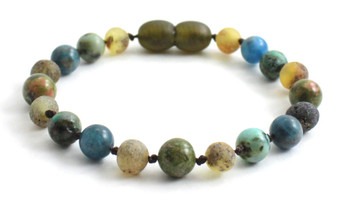 Green, Anklet, Beaded, Amber, Baltic, Jewelry, Blue Apatite, Unakite, Gemstone, African Turquoise