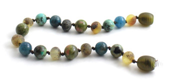 Green, Anklet, Beaded, Amber, Baltic, Jewelry, Blue Apatite, Unakite, Gemstone, African Turquoise 2