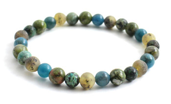 Green, Raw, Amber, Baltic, Bracelet, Stretch, Unpolished, Unakite, Apatite, African Turquoise