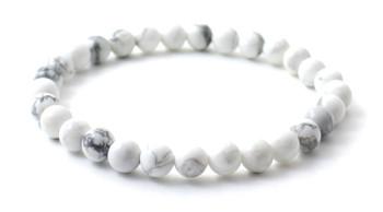 White, Howlite, Stretch, Bracelet, Adult, Jewelry, Gemstone, Beaded, 6 mm, 6mm