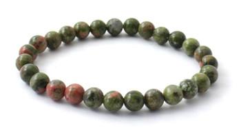 Bracelet, Unakite, Gemstone, Jewelry, Stretch, Jewellery, 6 mm, 6mm, Green, Men, Bulk, Wholesale