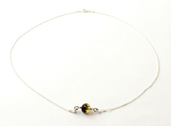 necklace, silver, sterling 925, jewelry, minimalist, green, amber, baltic, one bead 2