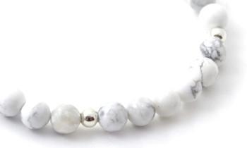 howlite, bracelet, bulk, wholesale, jewelry, stretch, elastic band, 6 mm, 6mm, white, sterling silver 925 2
