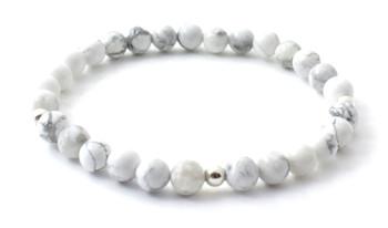 howlite, bracelet, bulk, wholesale, jewelry, stretch, elastic band, 6 mm, 6mm, white, sterling silver 925