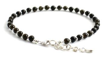 anklet, minimalist, sterling silver 925, jewelry, jewellery, golden sheen, black, beaded, adjustable