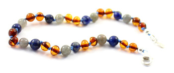 anklet, amber, silver, blue, lapis lazuli, gray, labradorite, sterling 925, jewelry, adjustable, baltic