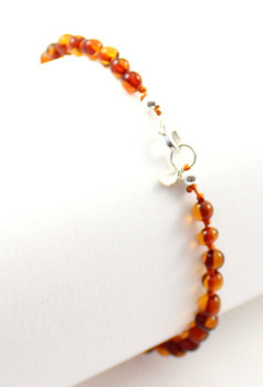 anklet, amber, cognac, baltic, silver, adjustable, adult, beaded, jewelry 2