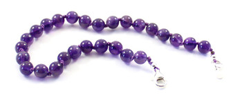 anklet, jewelry, amethyst, gemstone, beaded, violet, purple, jewellery, 6 mm, 6mm, adjustable, with sterling silver 925