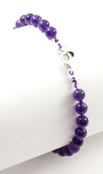 anklet, jewelry, amethyst, gemstone, beaded, violet, purple, jewellery, 6 mm, 6mm, adjustable, with sterling silver 925 2