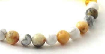 bracelet, gemstone, howlite, white, amber, lemon, milky, yellow, baltic, stretch, jewelry, crazy agate 2