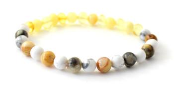 bracelet, gemstone, howlite, white, amber, lemon, milky, yellow, baltic, stretch, jewelry, crazy agate