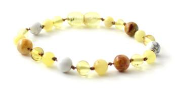 bracelet, howlite, white, anklet, baltic, amber, teething, jewelry, beaded, gemstone, crazy agate, yellow, milky, lemon