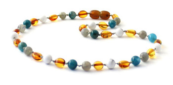 necklace, bean, amber, baltic, blue, apatite, jewelry, cognac, polished, white, howlite, gemstone