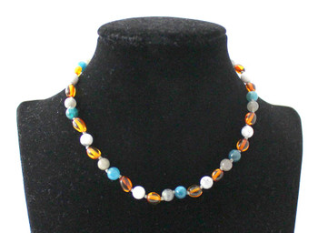 necklace, bean, amber, baltic, blue, apatite, jewelry, cognac, polished, white, howlite, gemstone 2