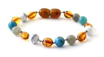 anklet, gemstone, apatite, labradorite, bracelet, teething, kids, cognac, bean, amber, baltic